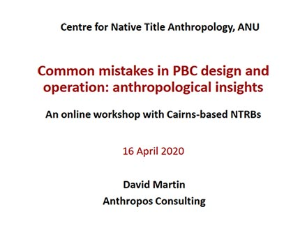 Virtual workshops with staff of Cairns-based NTRBs, 15th April 2020